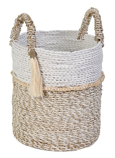 Kanca Ev Seagrass Hasır, Püsküllü Yuvarlak Derin Sepet, Beyaz-Natürel, Küçük Beyaz